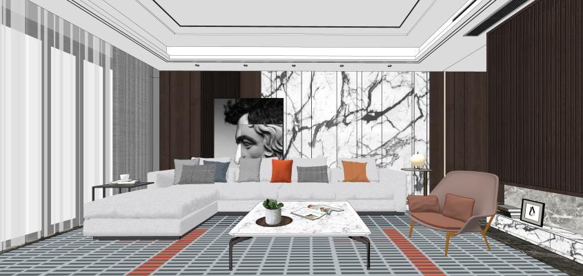 现代风格家居客厅 组合沙发 多人沙发