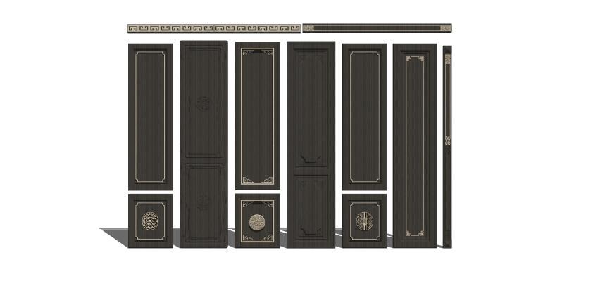 新中式实木护墙板
