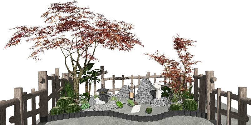 新中式景观小品 庭院景观 石头 仙人掌