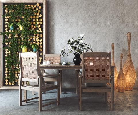 东南亚风餐桌椅组合 地灯