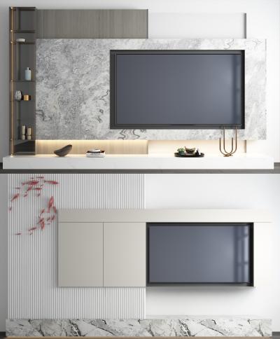现代大理石电视背景墙