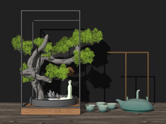 新中式摆件组合 禅意枯山水 佛像 茶具 盆栽