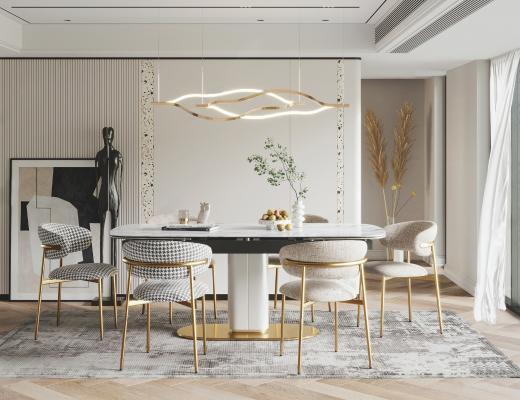 现代餐厅 餐桌椅 灯