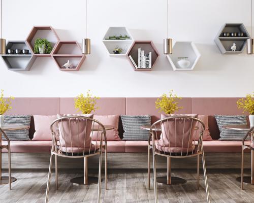 现代网红餐厅 金属餐桌椅 卡座 吊灯组合