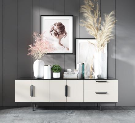 现代电视柜 现代烤漆电视柜 挂画摆件