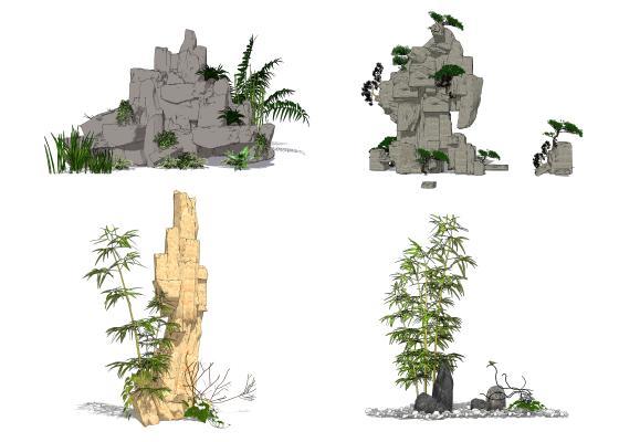 新中式假山叠石组合