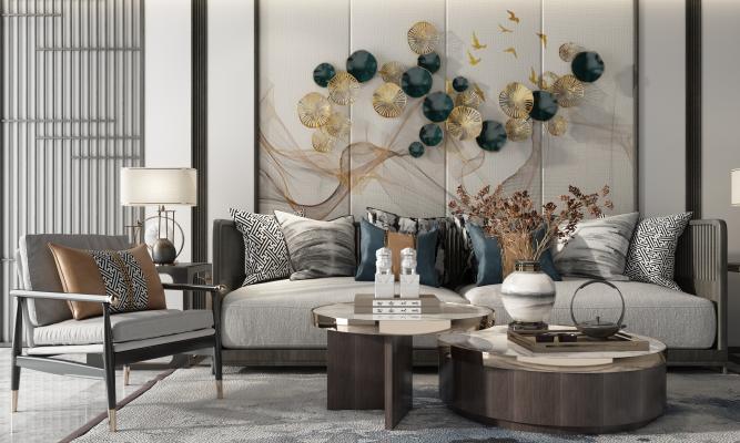 新中式沙发茶几 组合沙发