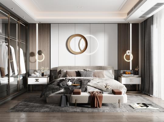 现代卧室 床组合 床头柜 衣柜 吊灯 床尾凳 装饰品