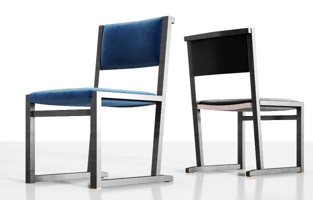 新中式实木绒布单椅组合