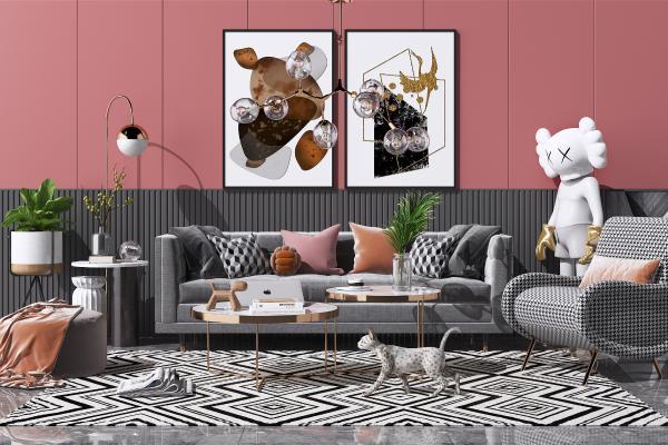 北欧布艺沙发茶几组合 艺术吊灯 休闲单人椅