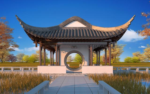 中式风格景观小品 亭台榭轩