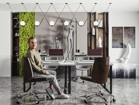 现代办公桌椅 吊灯 办公椅 员工办公桌