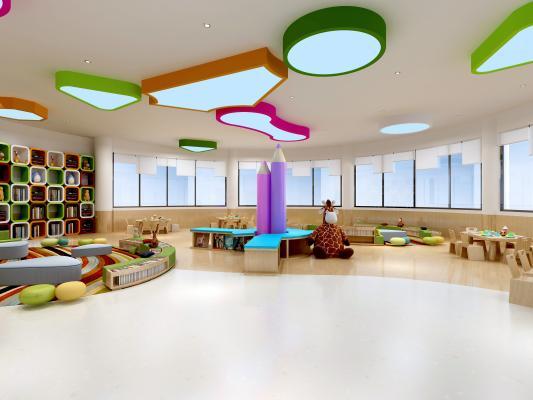 现代图书馆 阅览室 幼儿园活动室 吊灯 书架