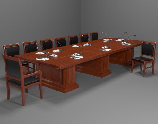 新中式实木会议桌椅 长条桌椅
