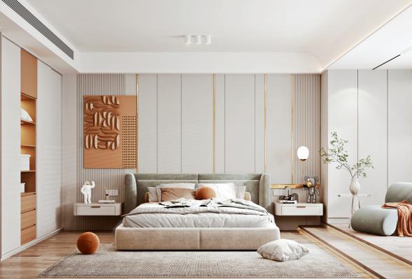 现代卧室 布艺双人床 衣柜