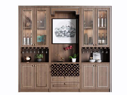 新中式实木酒柜组合