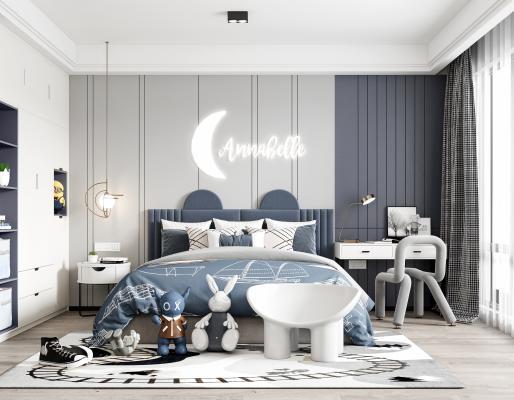 现代男孩房 儿童房 双人床