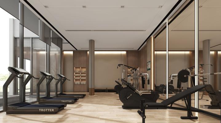 现代健身房 跑步机 运动器材
