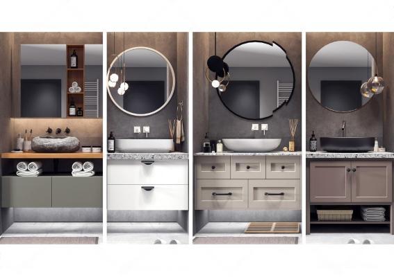 现代浴室柜台 盆柜 卫浴 配件组合