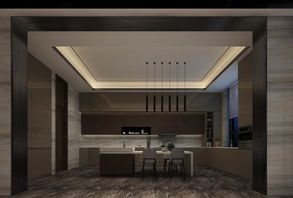 现代厨房 吊柜 吧台