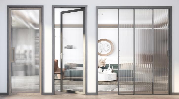 现代玻璃单开门 推拉门