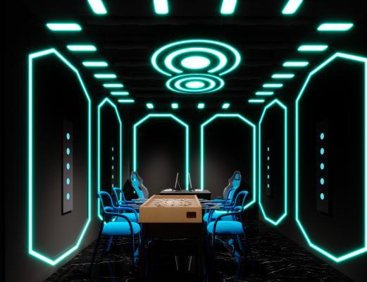 现代网吧 包厢 电脑 桌子 椅子 太空舱 吊灯 霓虹灯