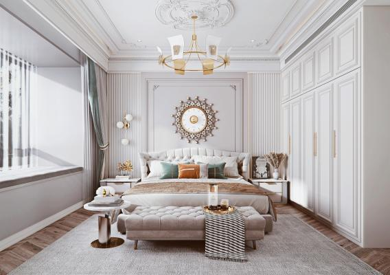 法式风格卧室 双人床 床头柜