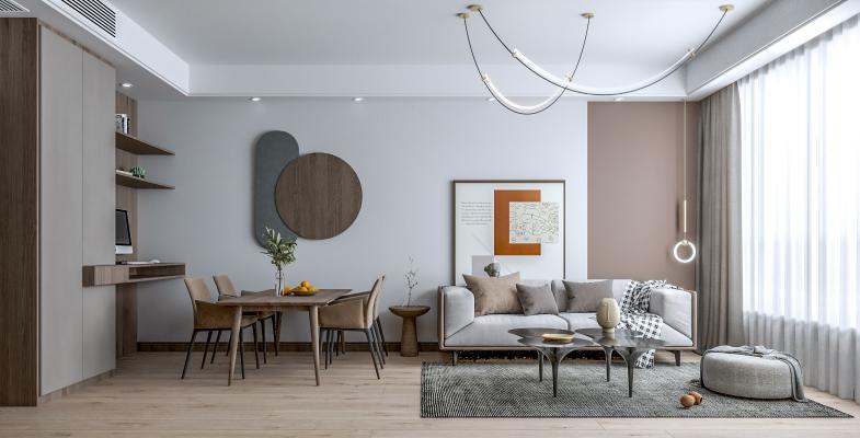 现代客餐厅 沙发茶几组合