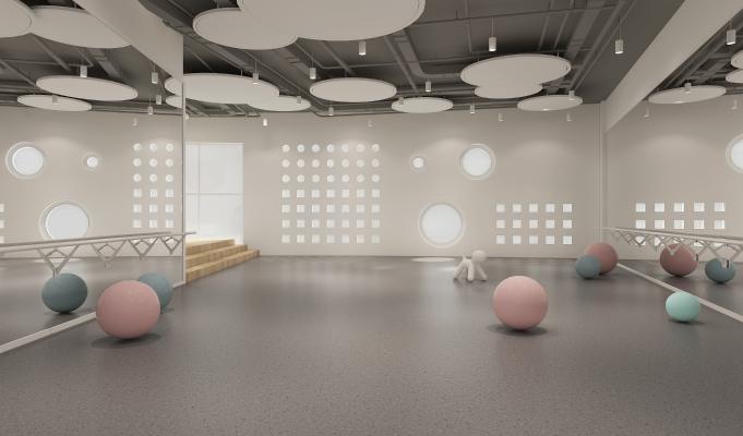 现代舞蹈室 柜子 瑜伽球
