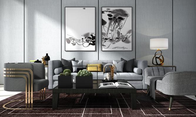 现代沙发茶几组合 角几 台灯 饰品