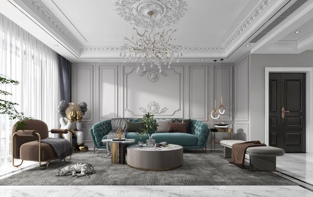 法式客厅 沙发 电视柜 吊灯 装饰画
