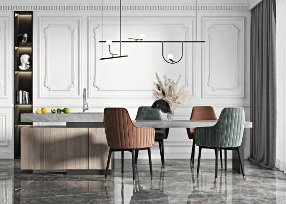 现代餐桌椅组合 吊灯 饰品