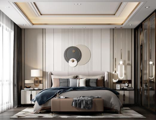 现代轻奢卧室 床 床头柜