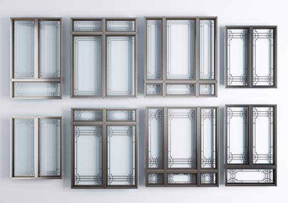 新中式窗户 铝合金窗户窗框组合