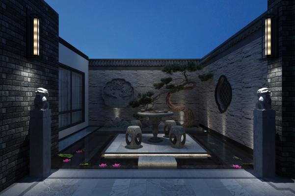 新中式庭院 入户花园 休闲区
