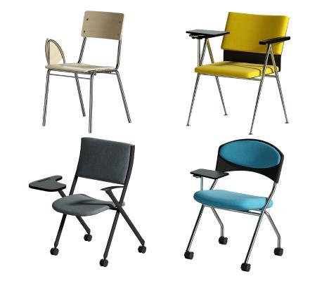 现代培训椅 折叠椅 办公椅会议一体椅