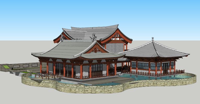 中式古建筑 亭子 凉亭