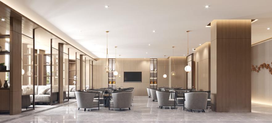 现代风格酒店接待区 休息区 过道 前台接待