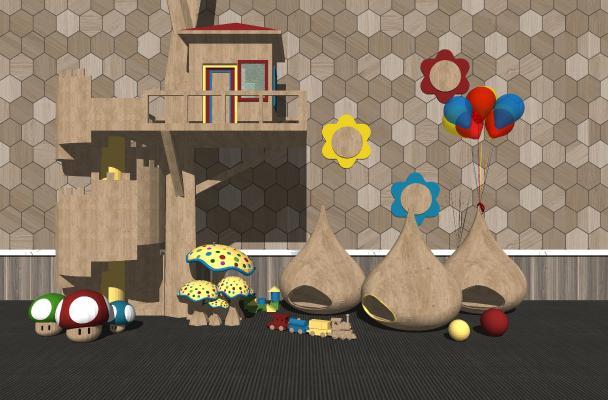 现代儿童游乐园木屋 玩具 蘑菇城堡