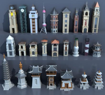 中式古建塔楼组合