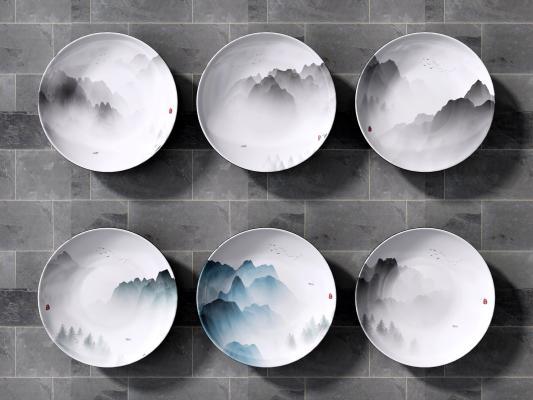 新中式盘子挂件 盘子墙饰 陶瓷盘