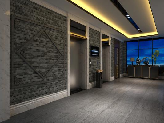 中式酒店电梯间 装饰线