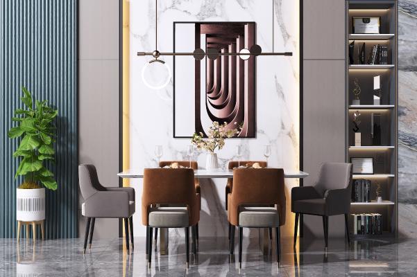 现代餐桌椅组合 书柜 吊灯