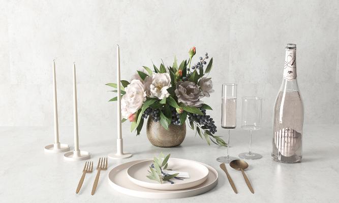 现代餐具 餐盘 鲜花