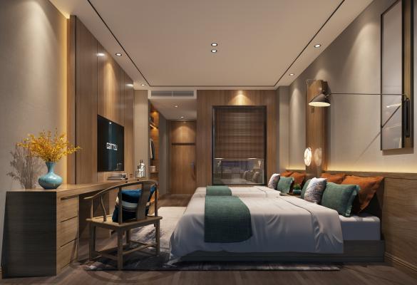 新中式禅意酒店客房 双人房 书桌椅组合