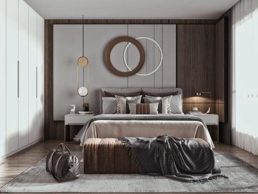 現代臥室 雙人床 墻飾