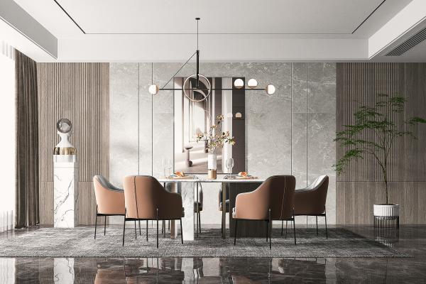 現代餐廳 餐桌椅 吊燈