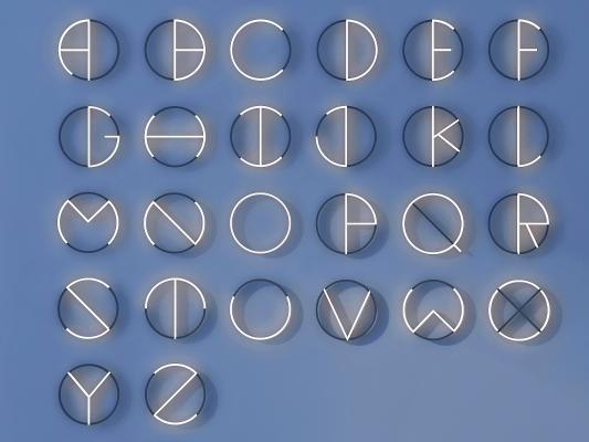 现代英文字母墙