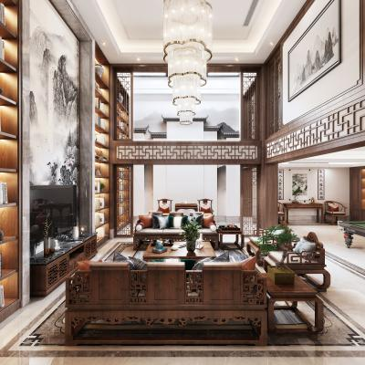 新中式挑空客厅