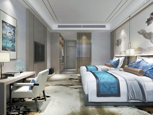 新中式风格酒店客房 衣柜 储物柜